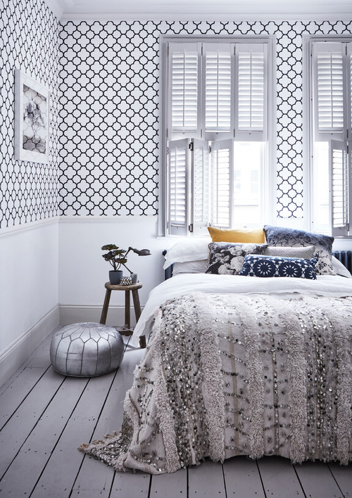 Geometric Wallpaper in Boho Chic Bedroom