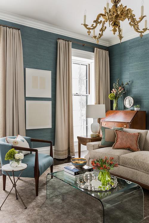 Blue Grass Wallpaper in Living Room