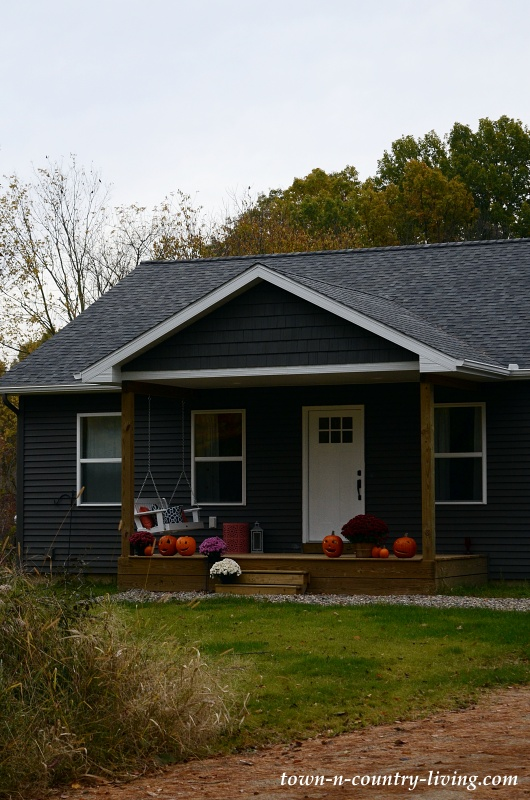 Cozy Dark Gray Cottage in the Fall