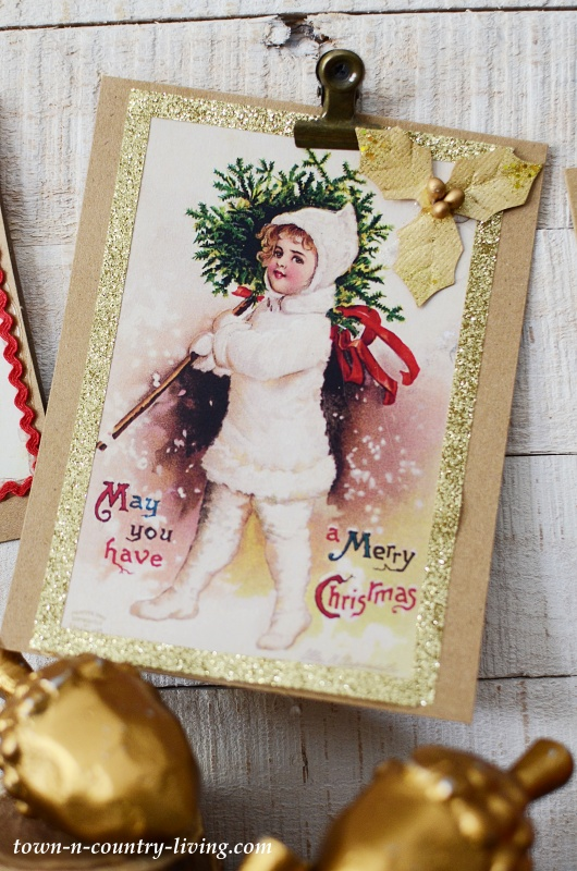 Vintage Christmas Print - Girl in Snow Carrying Christmas Tree