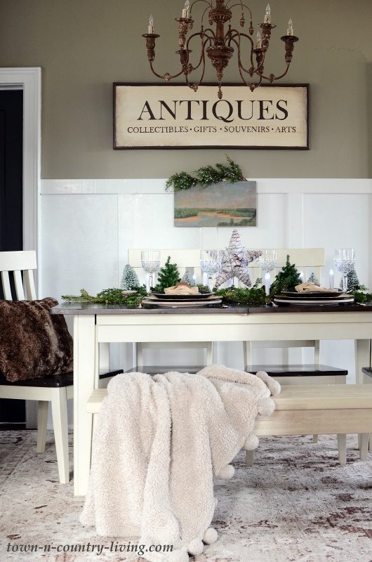 Modern Country Dining Room with Christmas Centerpiece