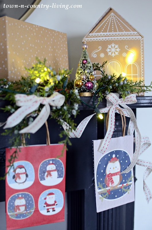Easy Holiday Decorating with Christmas Paper Bags and Ribbon