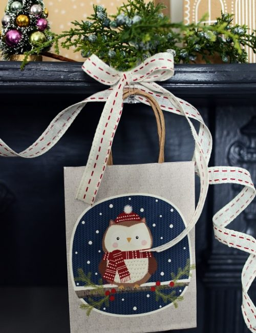 Cute Holiday Bags Create Christmas Mantel