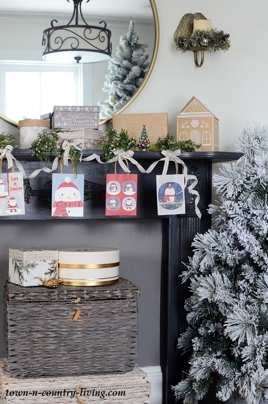 Christmas Mantel with Cute Printed Bags