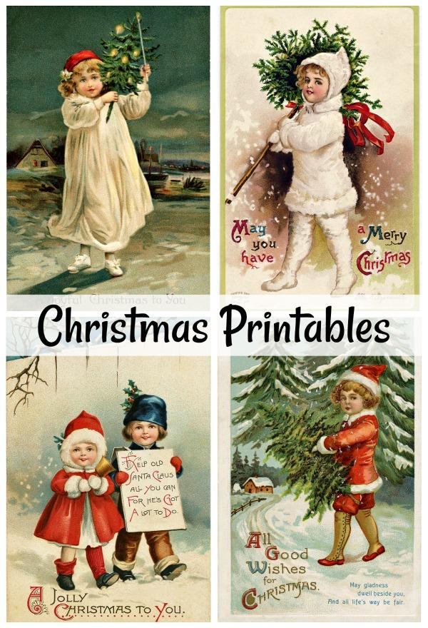 Set of 4 Vintage Christmas Printables
