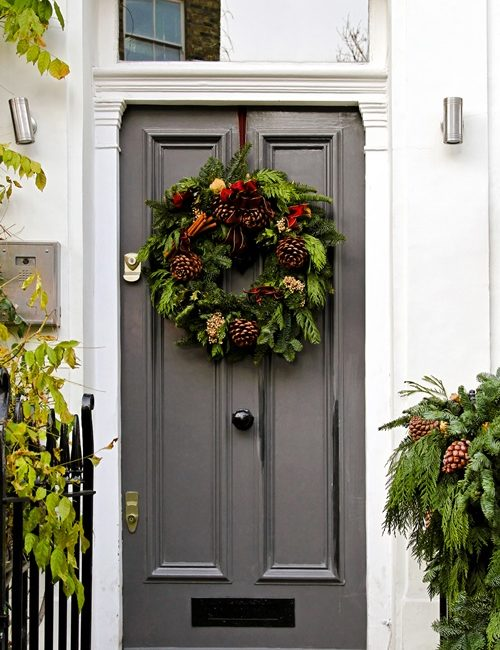 Gray Painted Door with Green Christmas Wreath