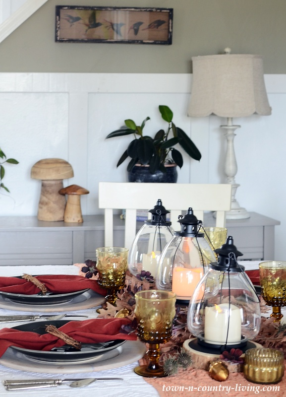 Trio of Lanterns in Fall Centerpiece