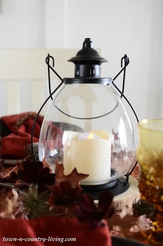 Farmhouse Lantern for Fall Centerpiece
