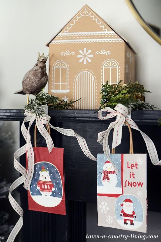 Cute Holiday Bags Create Christmas Mantel