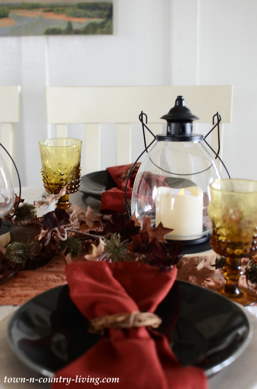 Fall Table Setting with Lantern Centerpiece