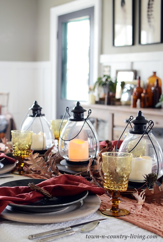 Lantern Fall Centerpiece for Thanksgiving Table Setting