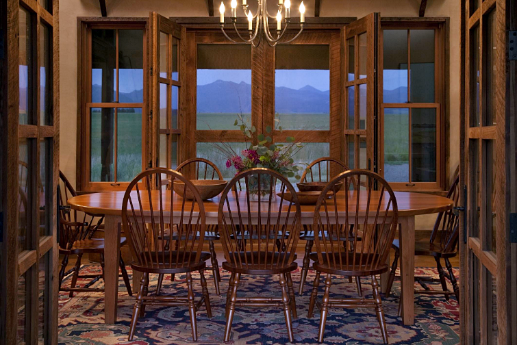 Montana Cabin Dining Room with Windsor Chairs