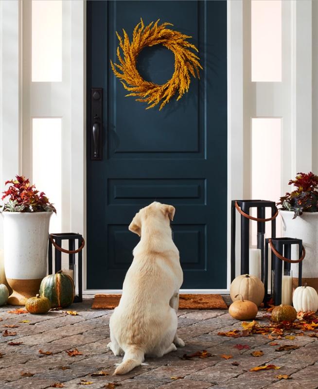 Fall Front Door Decor - navy door with orange wreath
