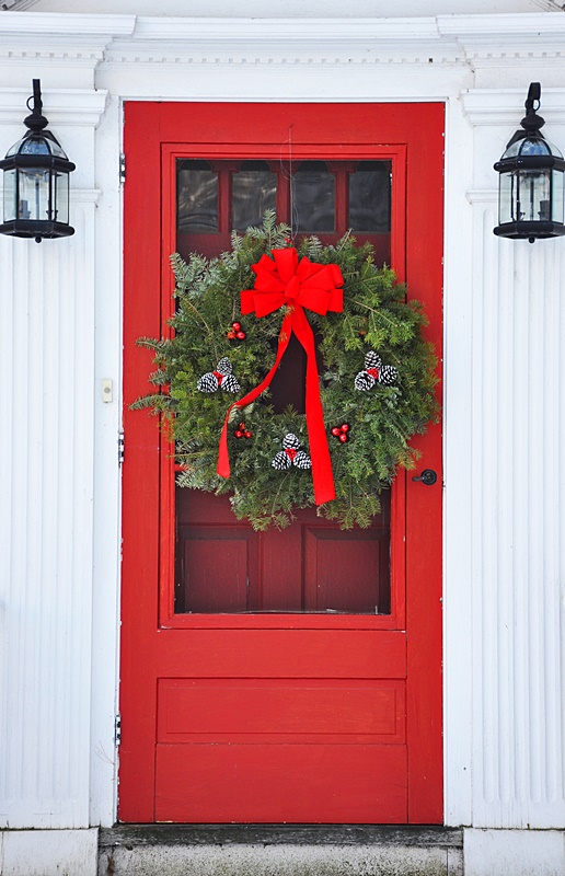 Holiday Wreath on Red Front Door