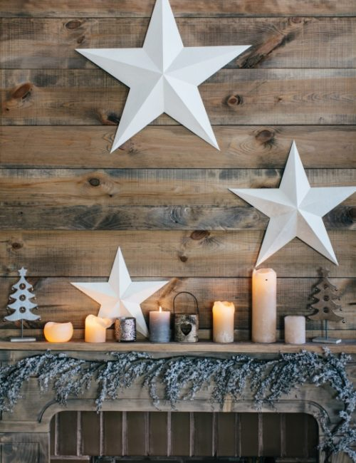 Rustic Christmas Mantel with Candles and Stars