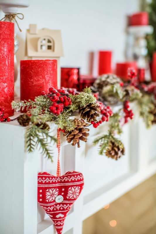 Red and White Scandinavian Style Christmas Mantel