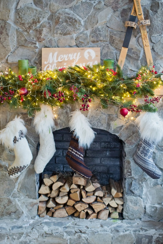 Stone Fireplace with Christmas Stockings