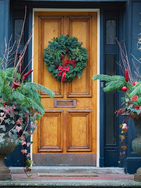 Holiday Door Ideas with Christmas Wreaths
