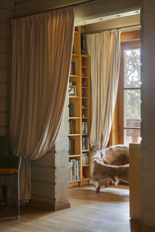 Cozy Reading Nook with Linen Drapes