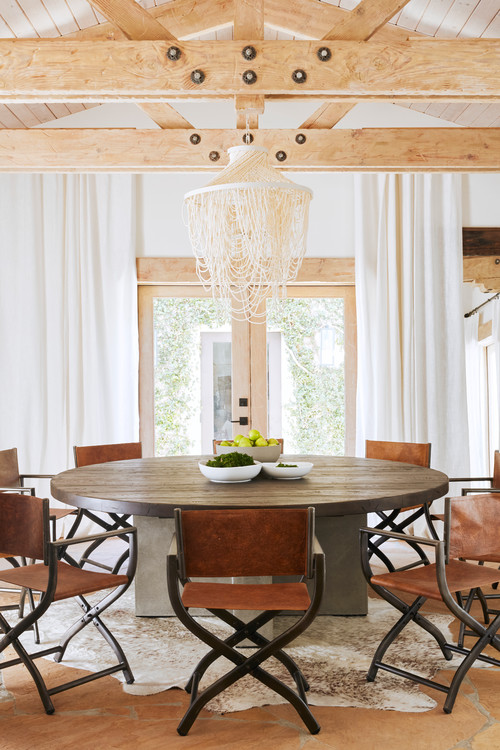 Boho Chic Dining Room with Leather Director Chairs