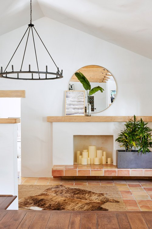 Modern Mediterranean Fireplace in Entryway