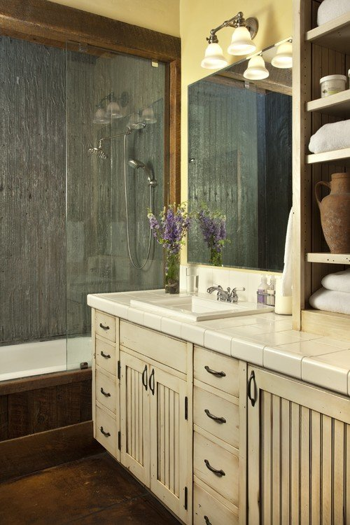 Rustic Bathroom with Custom Vanity