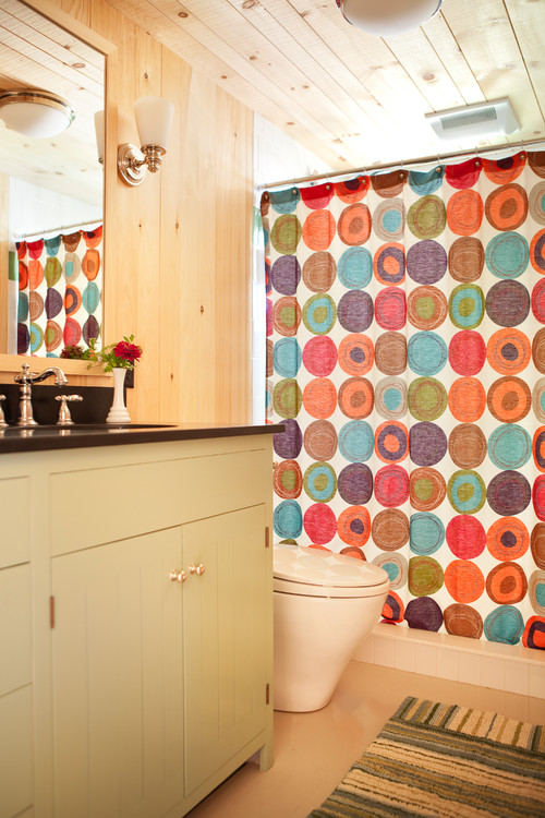 Colorful Shower Curtain in Rustic Bathroom