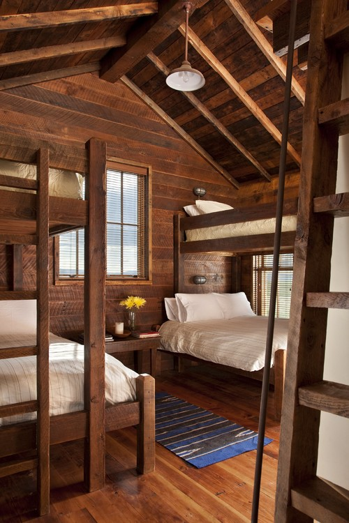 Cozy Bedroom with Wood Bunk Beds