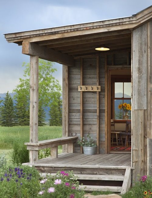 Rustic Front Porch of Montana Cabin
