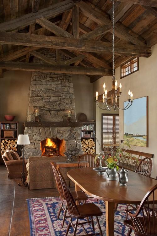 Rustic Living and Dining Room in Open Concept Cabin