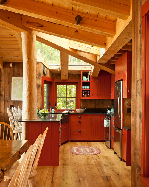 Rustic Cabin Kitchen with Red Cabinets