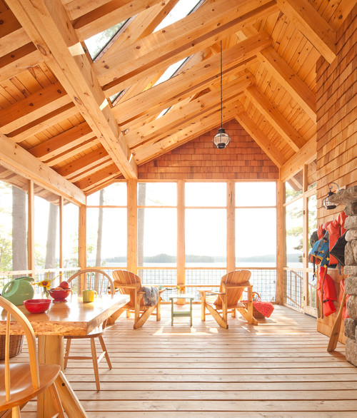 Screened in Cabin Porch with Natural Wood and Vaulted Ceiling