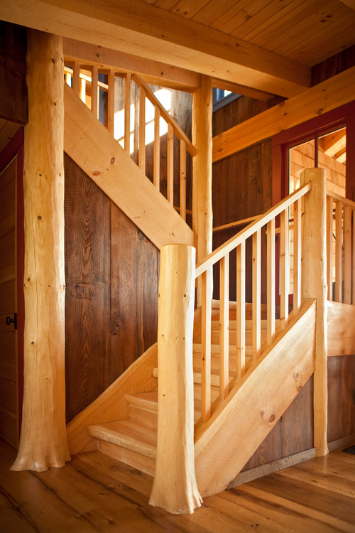 Rustic Wood Staircase in Maine Cabin