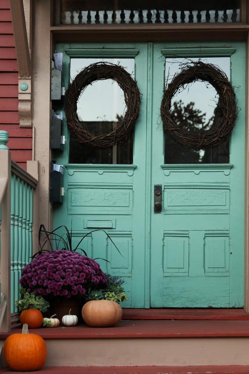 Double Front Doors Painted in Aqua