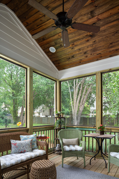 Screened In Porch with Wood Vaulted Ceiling