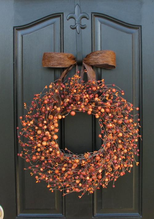 Rustic Orange Berry Wreath on Fall Front Door