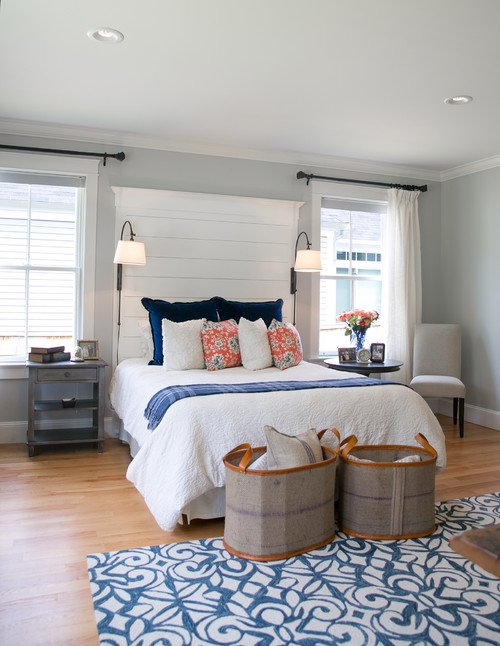 Coral and Navy Master Bedroom