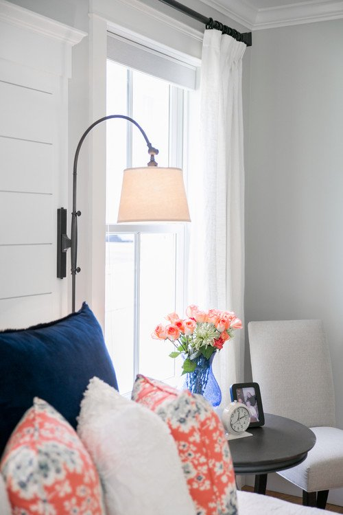 Coral, White, and Navy Master Bedroom