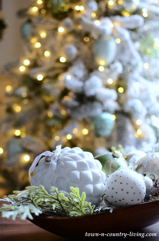 Green White and Silver Christmas Ornaments
