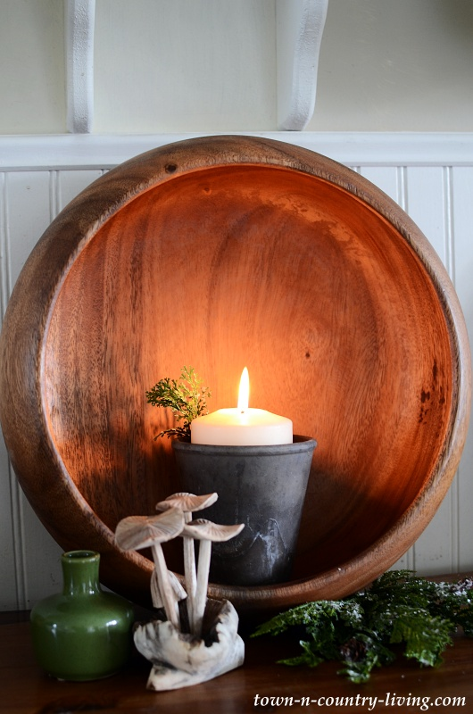 Christmas Candle in a Wooden Bowl