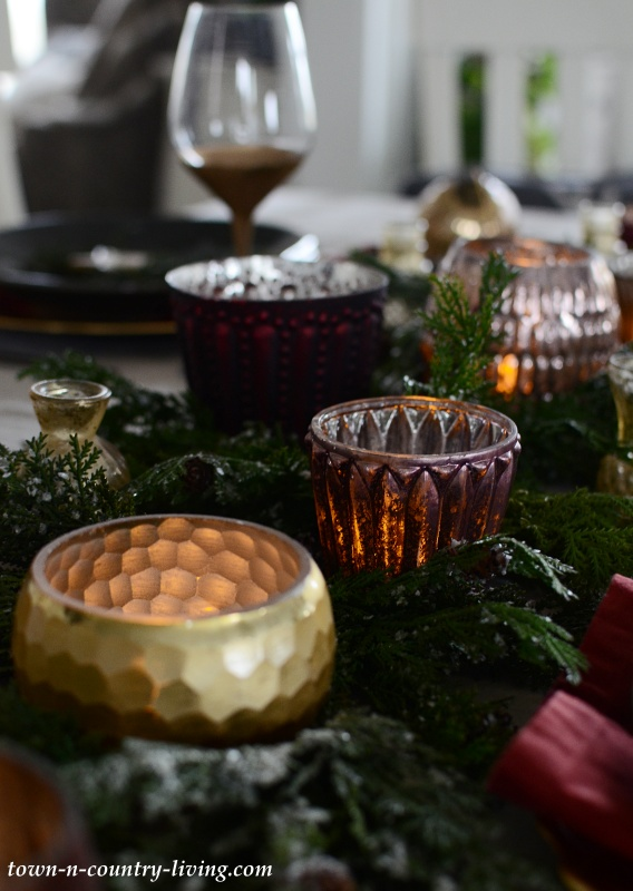 Pottery Barn Votive Holders in Gold and Burgundy