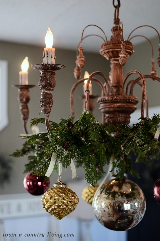 Christmas Chandelier with Bronze and Gold Ornaments