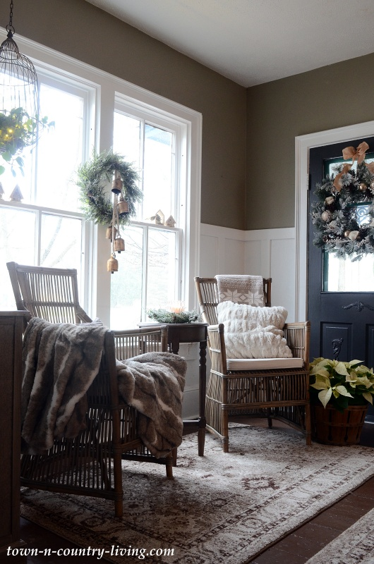 Christmas Decorating in Country Home Entryway