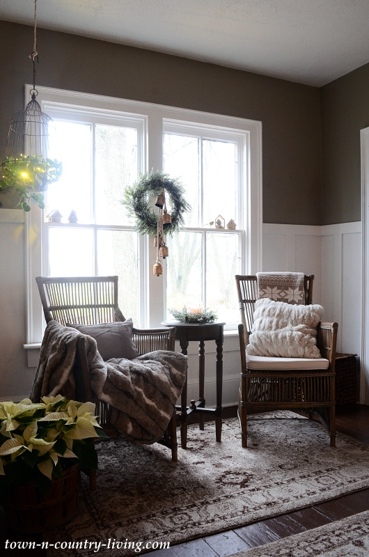 Country Home Entryway with Christmas Decor