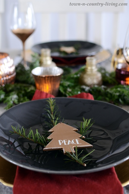 Christmas Table Setting in Gray, Gold, and Burgundy