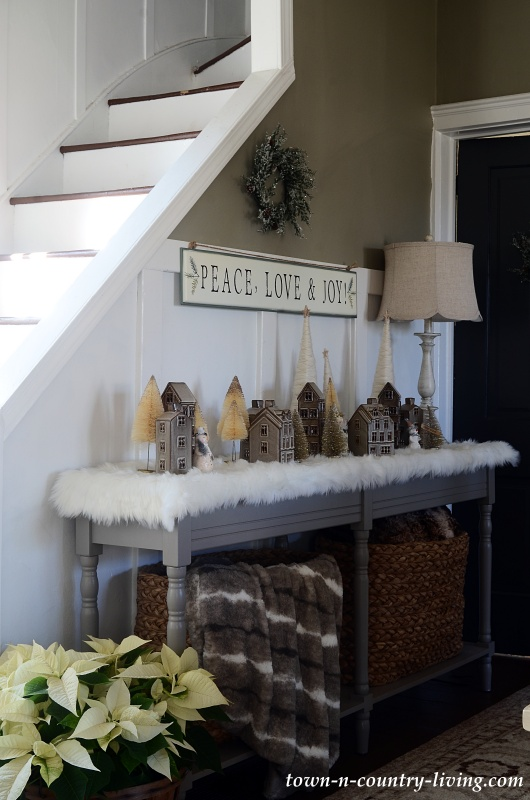 Vintage Christmas Village with Creamy Bottle Brush Trees