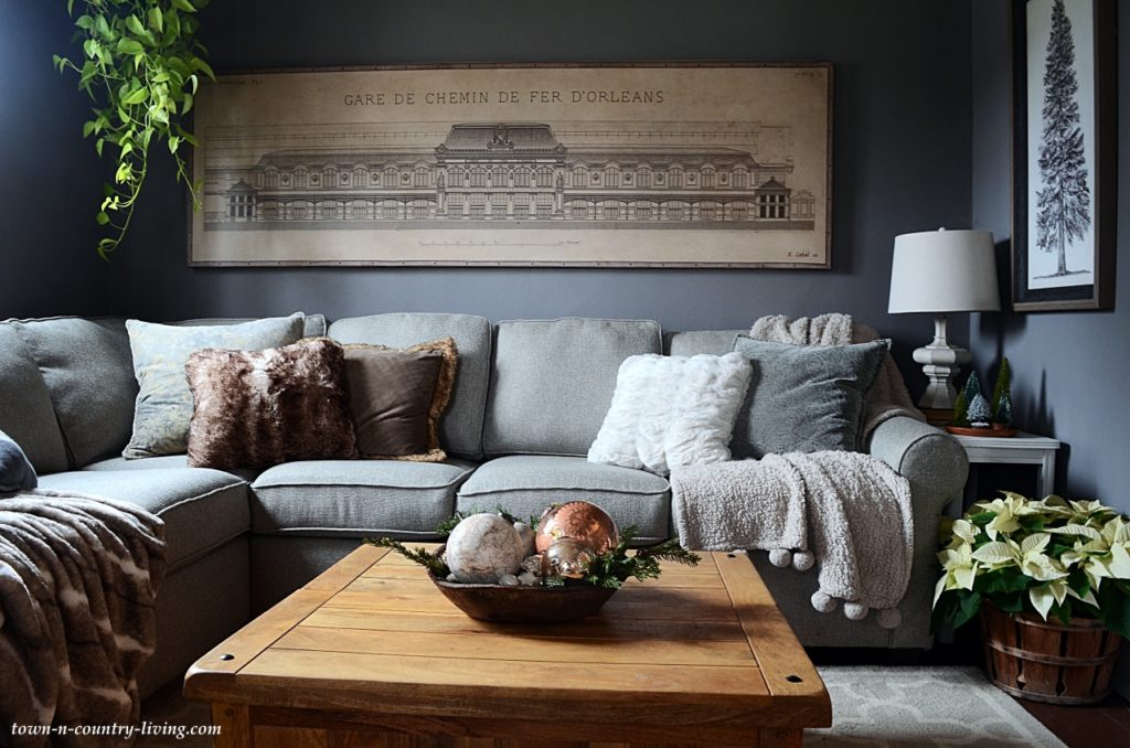 Country Home Family Room with Mole's Breath Paint by Farrow and Ball