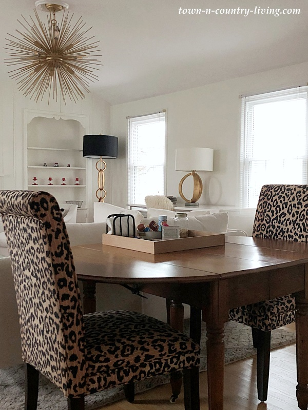 Dining Area with Leopard Print Chairs