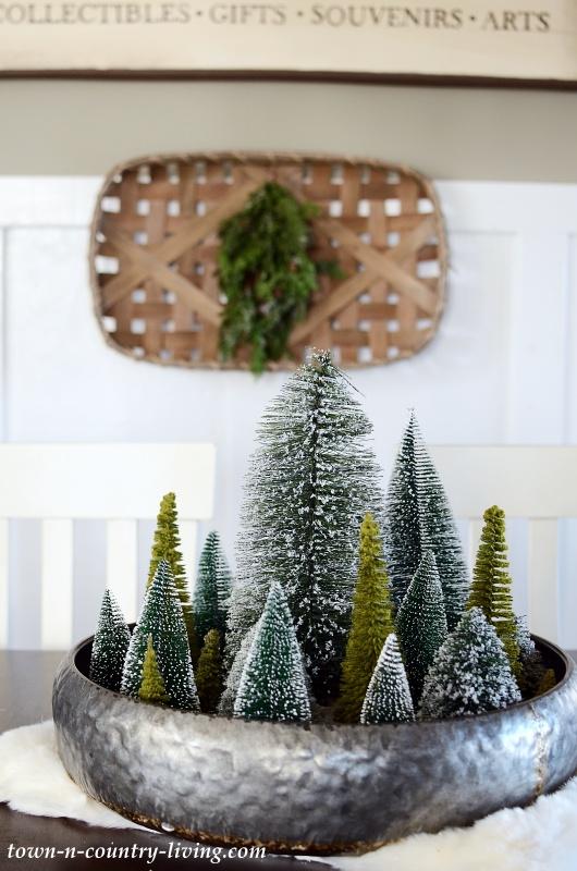 Bottle Brush Christmas Trees is Large Metal Tin
