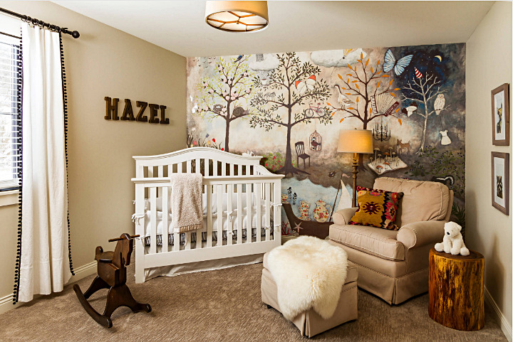 Baby Nursery with Painted Wall Mural